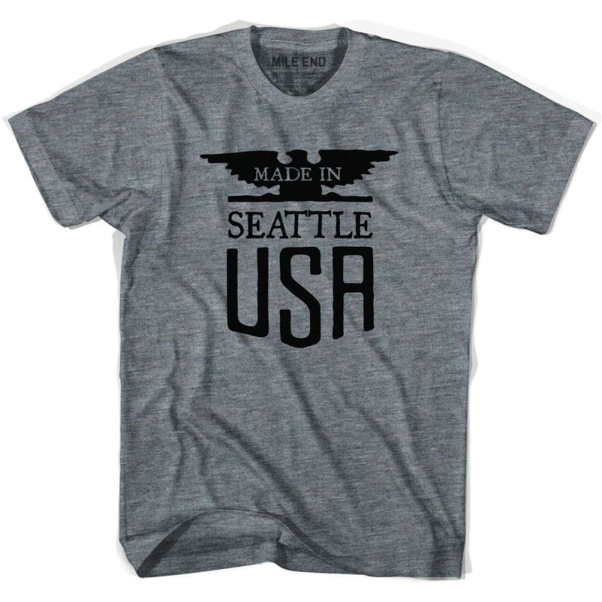 Made In USA Seattle Vintage Eagle T-shirt - Athletic Grey / Youth X-Small - Made in Eagle