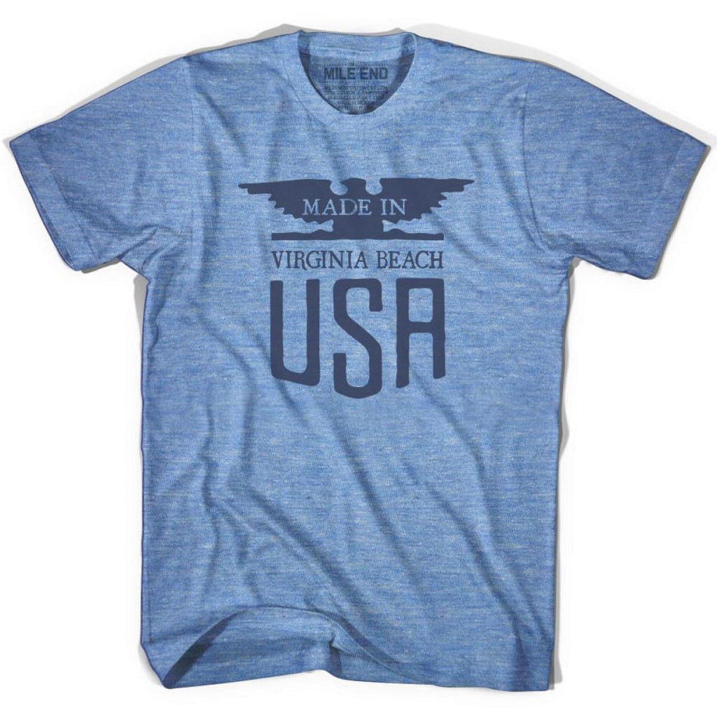 Made In USA Virginia Vintage Eagle T-shirt - Athletic Blue / Adult X-Small - Made in Eagle