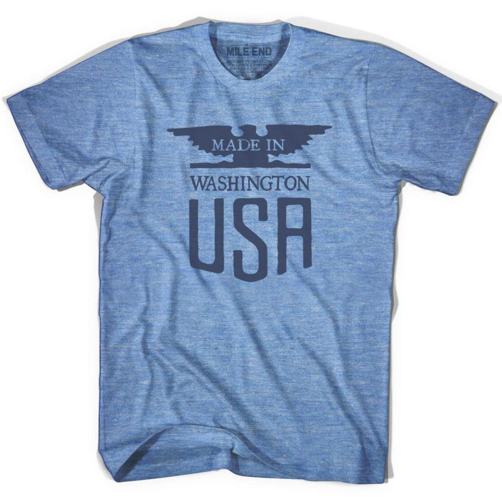 Made In USA Washington Vintage Eagle T-shirt - Athletic Blue / Adult X-Small - Made in Eagle
