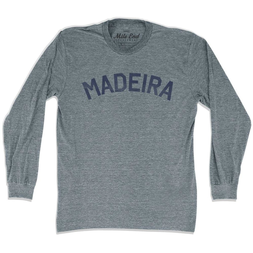 Madeira City Vintage Long Sleeve T-shirt - Athletic Grey / Adult X-Small - Mile End City