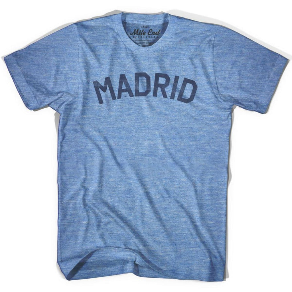 Madrid City Vintage T-shirt - Athletic Blue / Adult X-Small - Mile End City