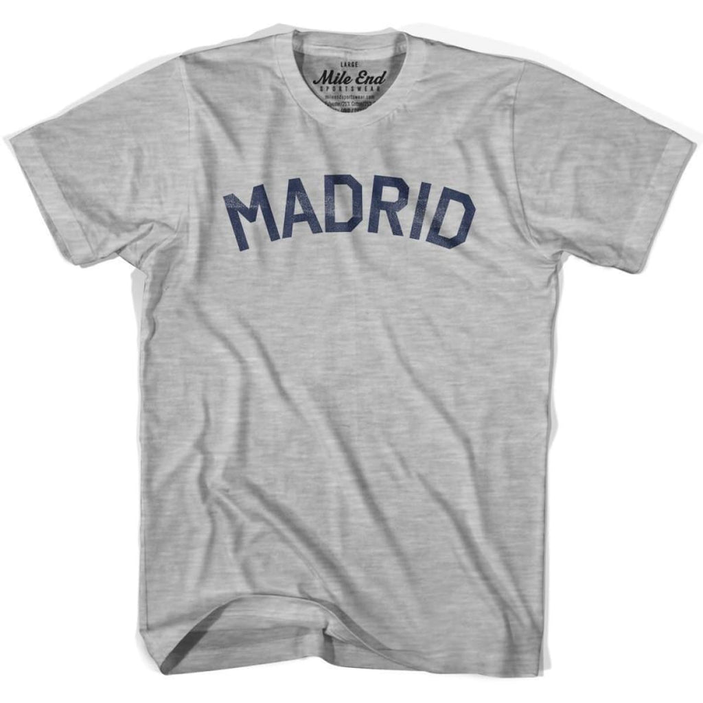 Madrid City Vintage T-shirt - Grey Heather / Youth Small - Mile End City