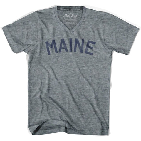 Maine City Vintage V-neck T-shirt - Athletic Grey / Adult X-Small - Mile End City
