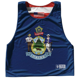 Maine State Flag and American Flag Reversible Lacrosse Pinnie - Royal Blue / Adult Small / No - Lacrosse Pinnies