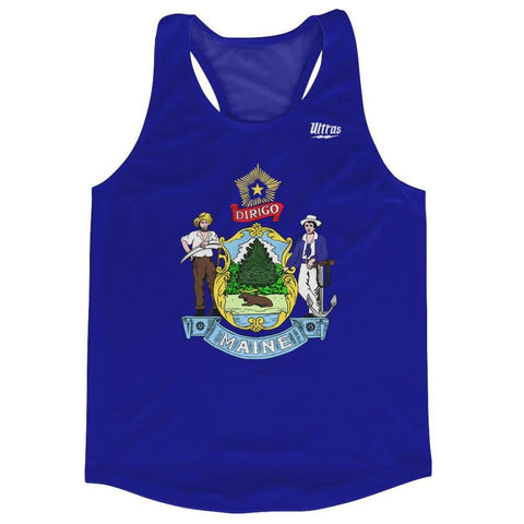 Maine State Flag Running Tank Top Racerback Track and Cross Country Singlet Jersey - Royal Blue / Adult X-Small - Running Top