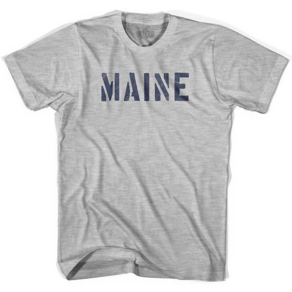 Maine State Stencil Adult Cotton T-shirt - Grey Heather / Adult Small - Stencil State