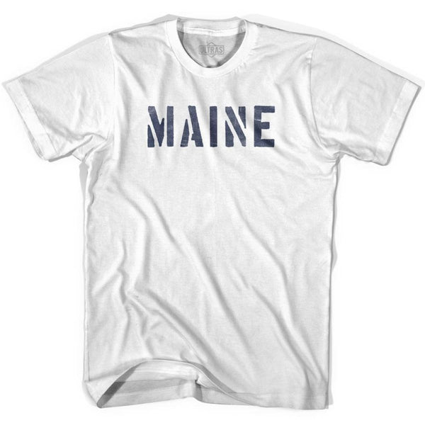 Maine State Stencil Youth Cotton T-shirt - White / Youth X-Small - Stencil State