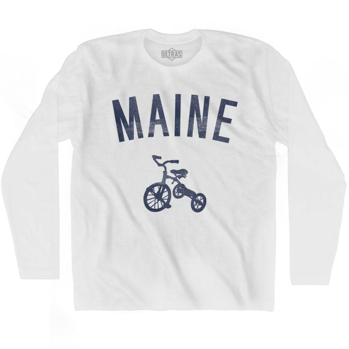 Maine State Tricycle Adult Cotton Long Sleeve T-shirt - White / Adult Small - Tricycle State