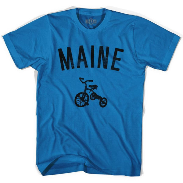 Maine State Tricycle Adult Cotton T-shirt - Royal / Adult Small - Tricycle State