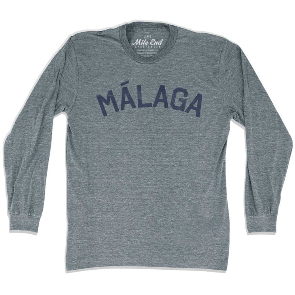 Málaga City Vintage Long-Sleeve T-shirt - Athletic Grey / Adult Small - Mile End City