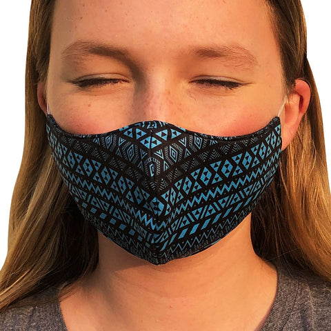 Maori Cyan Lightweight Reversible Ear Loop Adult Face Mask Made In USA