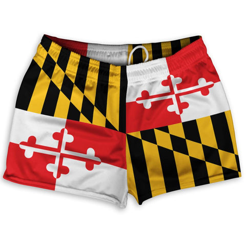 "Maryland Flag Athletic Shorts Shorty Short Gym Shorts 2.5""Inseam By Ultras Sportswear"