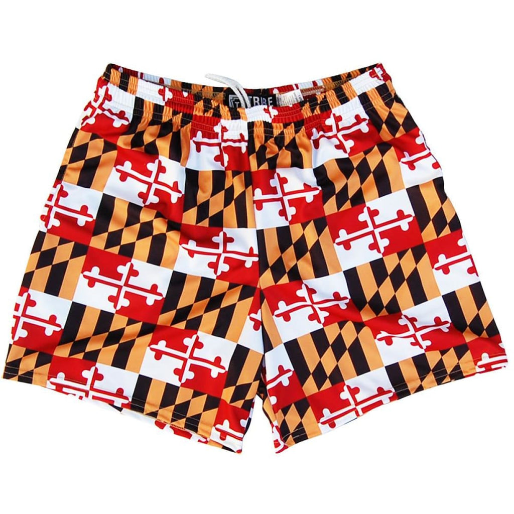 Maryland Flag All-Over Womens & Girls Sport Shorts by Mile End - Red / Youth Small - Womens Sport Shorts