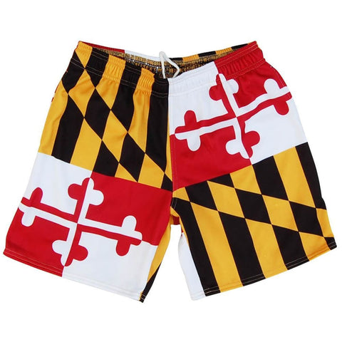Maryland Flag Athletic Fleece Sweatshorts - Red Black Yellow and White / Adult Small - Sweat Shorts