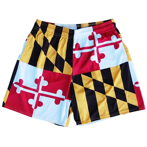 Maryland Flag Athletic Shorts - Red Black Yellow White / Youth X-Small - Athletic Shorts