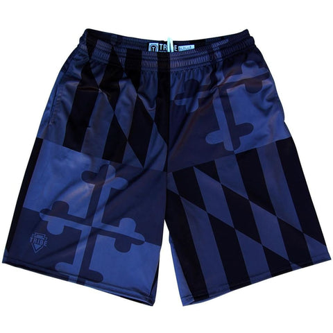 Maryland Flag Black Out Quads Lacrosse Shorts - Black / Youth X-Small / No - Tribe Lacrosse Shorts
