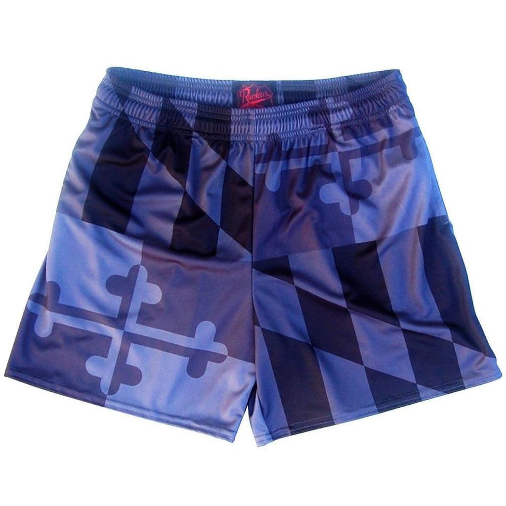 Maryland Flag Black Out Rugby Shorts - Black / Adult Small - Rugby Cut Training Shorts