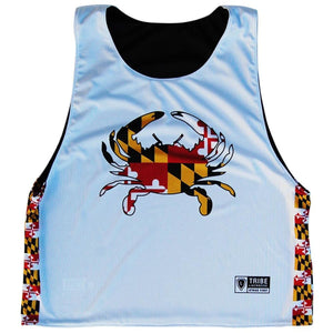 Maryland Flag Crab Lacrosse Reversible Pinnie - White / Youth X-Small / No - Graphic Lacrosse Pinnies