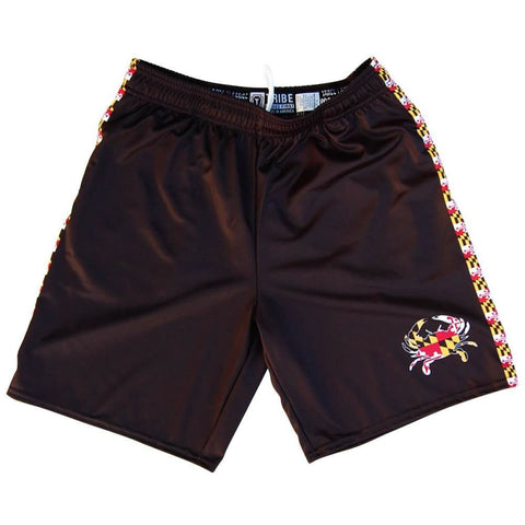 Maryland Flag Crab Lacrosse Shorts - Black / Youth X-Small - Tribe Lacrosse Shorts