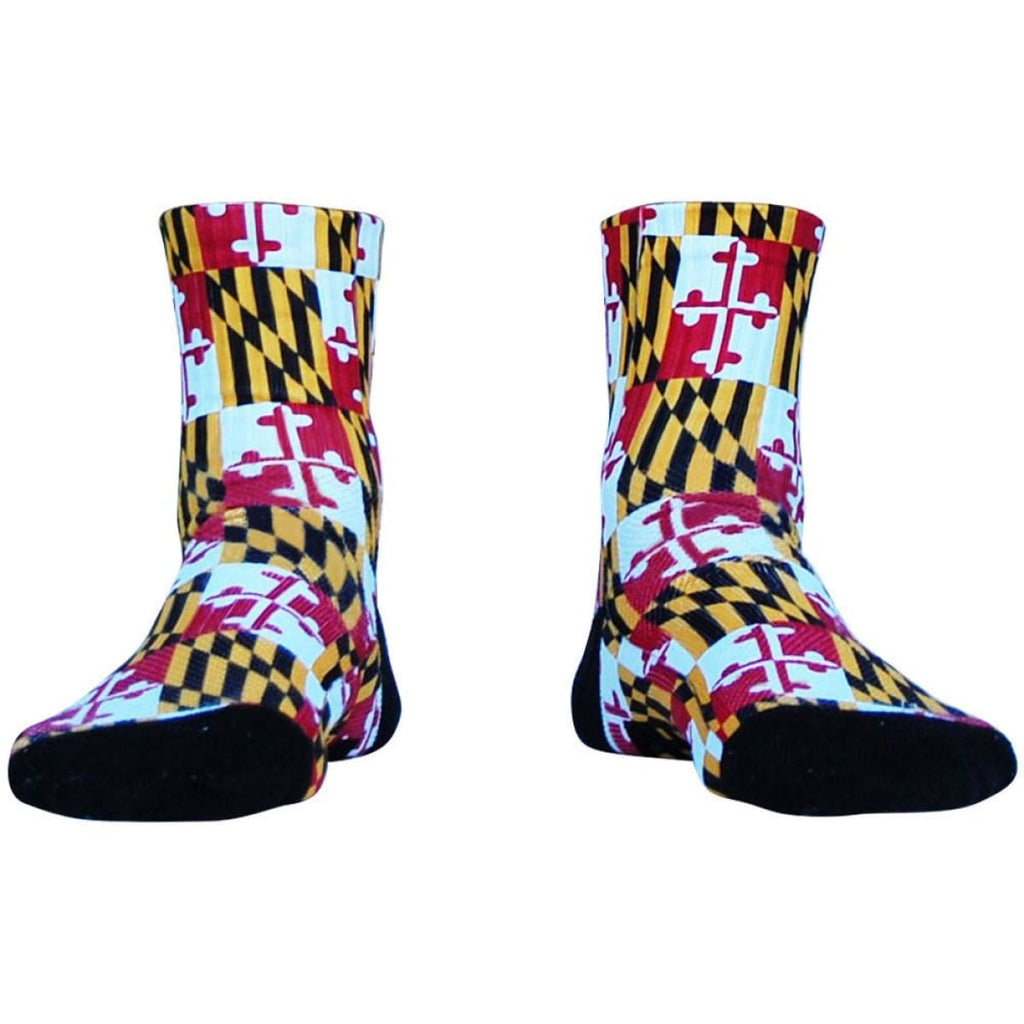 Maryland Flag Half Crew Athletic Socks - Red / Adult Medium - Socks