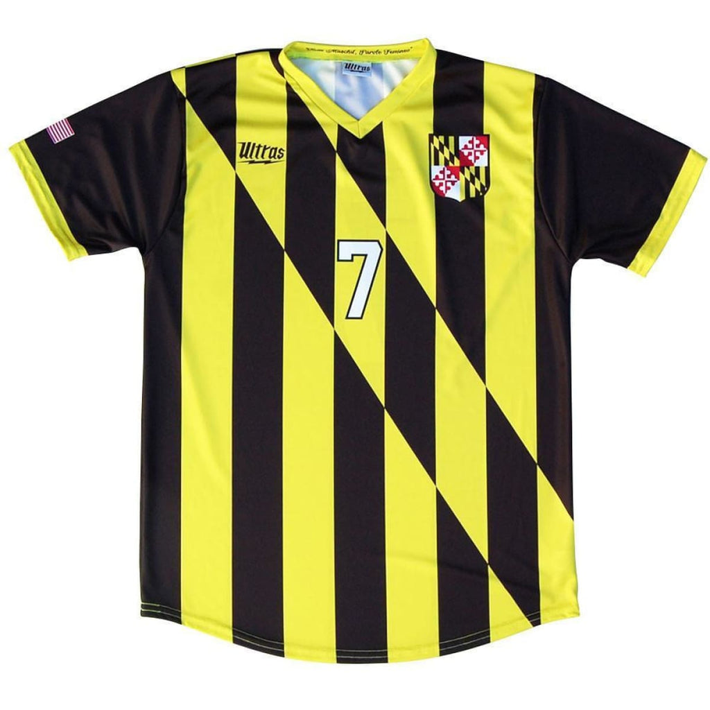 Maryland State Cup Soccer Jersey - Black and Yellow / Youth X-Small / No - Ultras State Cup Soccer Jerseys
