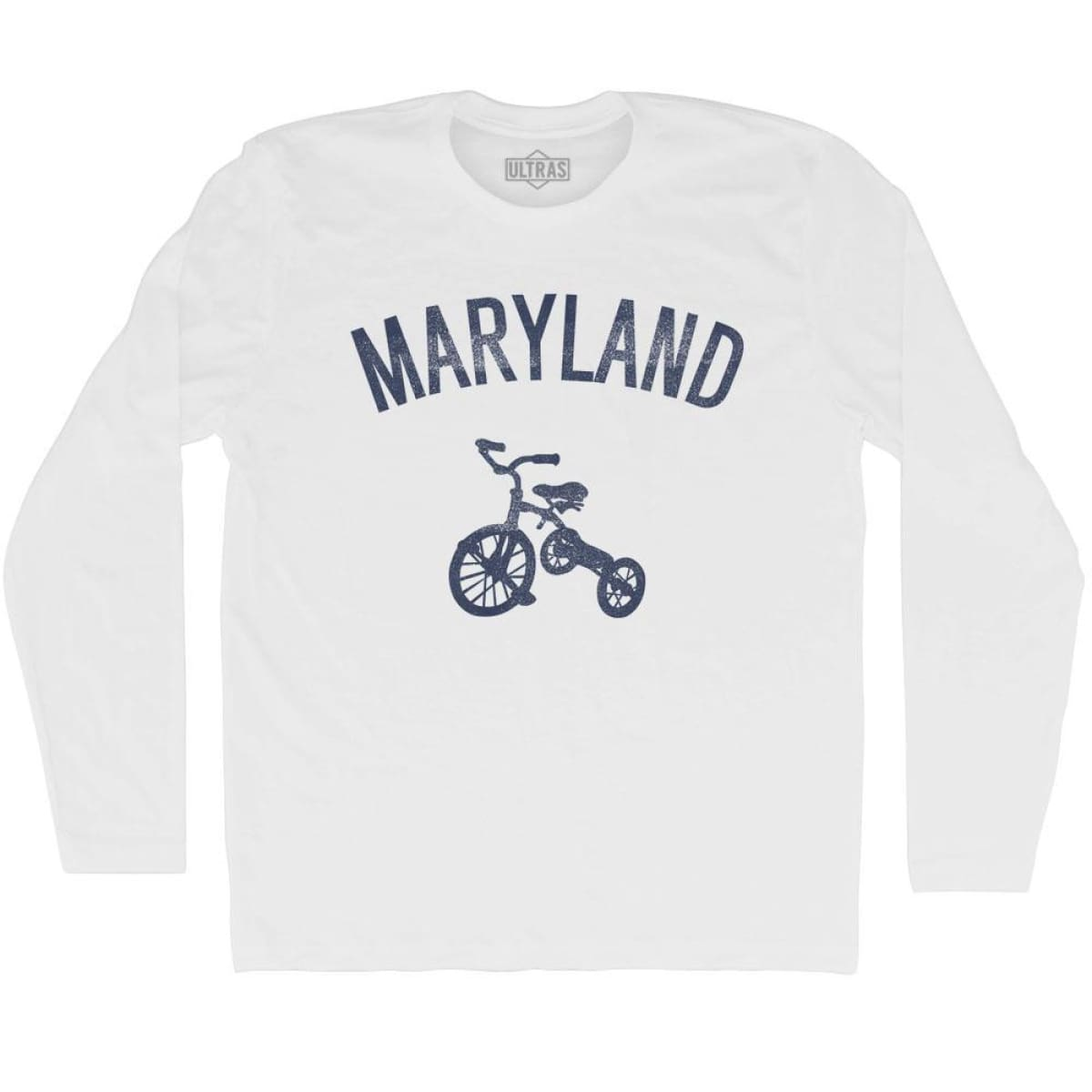 Maryland State Tricycle Adult Cotton Long Sleeve T-shirt - White / Adult Small - Tricycle State
