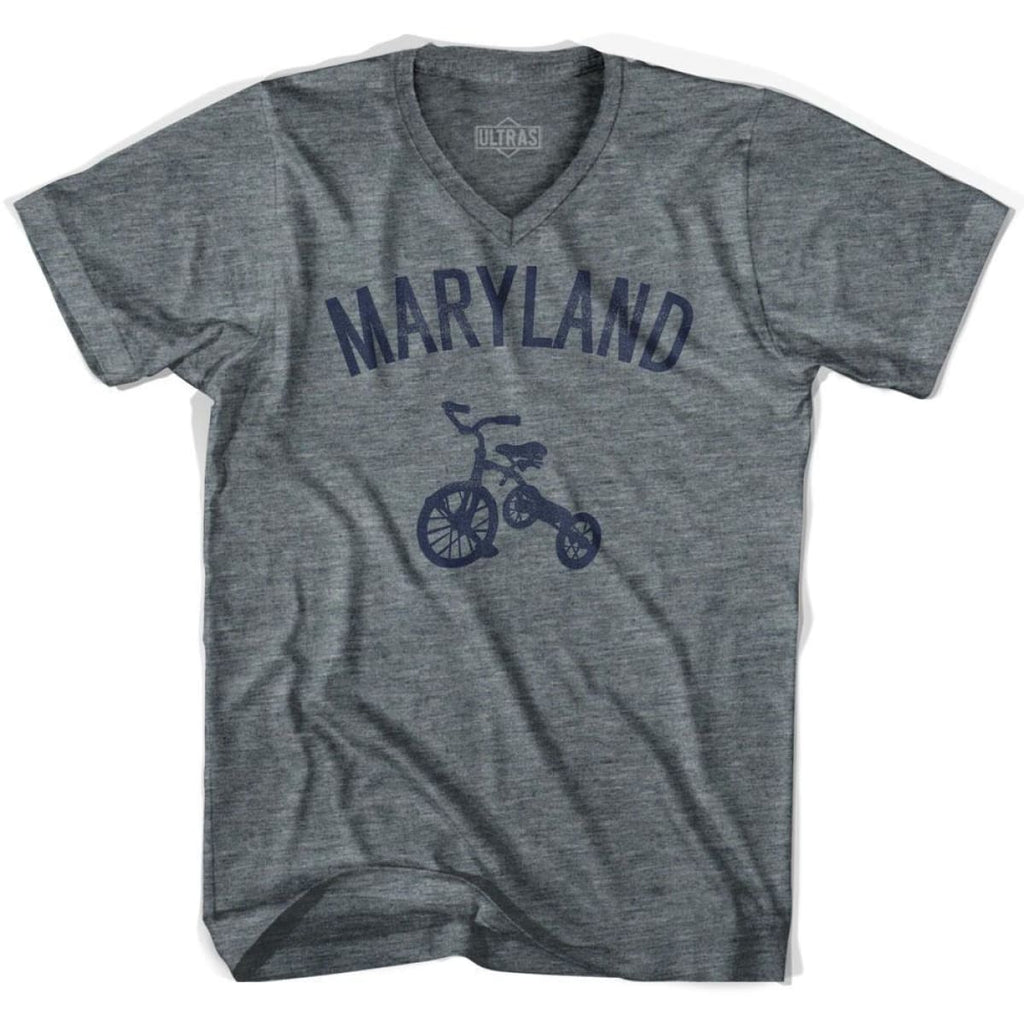 Maryland State Tricycle Adult Tri-Blend V-neck T-shirt - Athletic Grey / Adult X-Small - Tricycle State