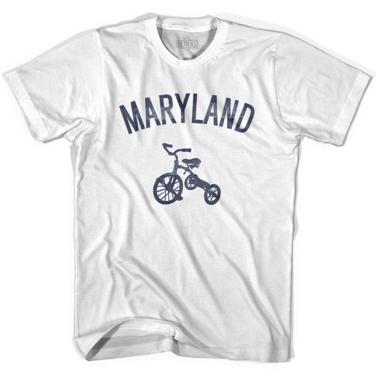 Maryland State Tricycle Womens Cotton T-shirt - White / Womens Small - Tricycle State