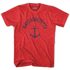 Massachusetts State Anchor Home Tri-Blend Adult T-shirt - Heather Red / Adult Small - Anchor Home
