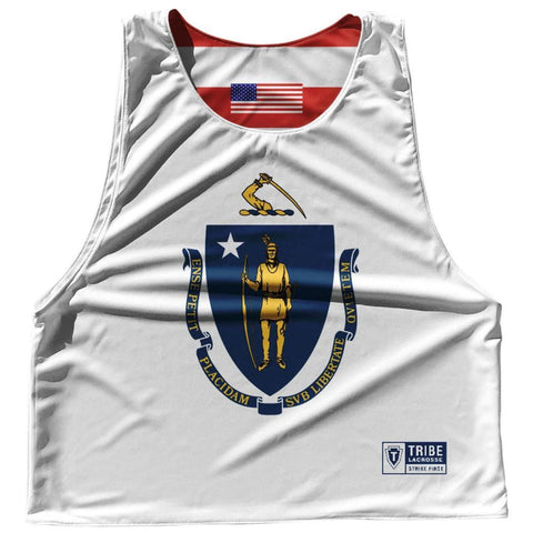 Massachusetts State Flag and American Flag Reversible Lacrosse Pinnie - White / Adult Small / No - Lacrosse Pinnies