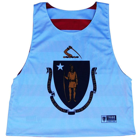 Massachusetts State Flag Native American Reversible Lacrosse Pinnie - White & Red / Youth X-Small / No - Graphic Lacrosse Pinnies