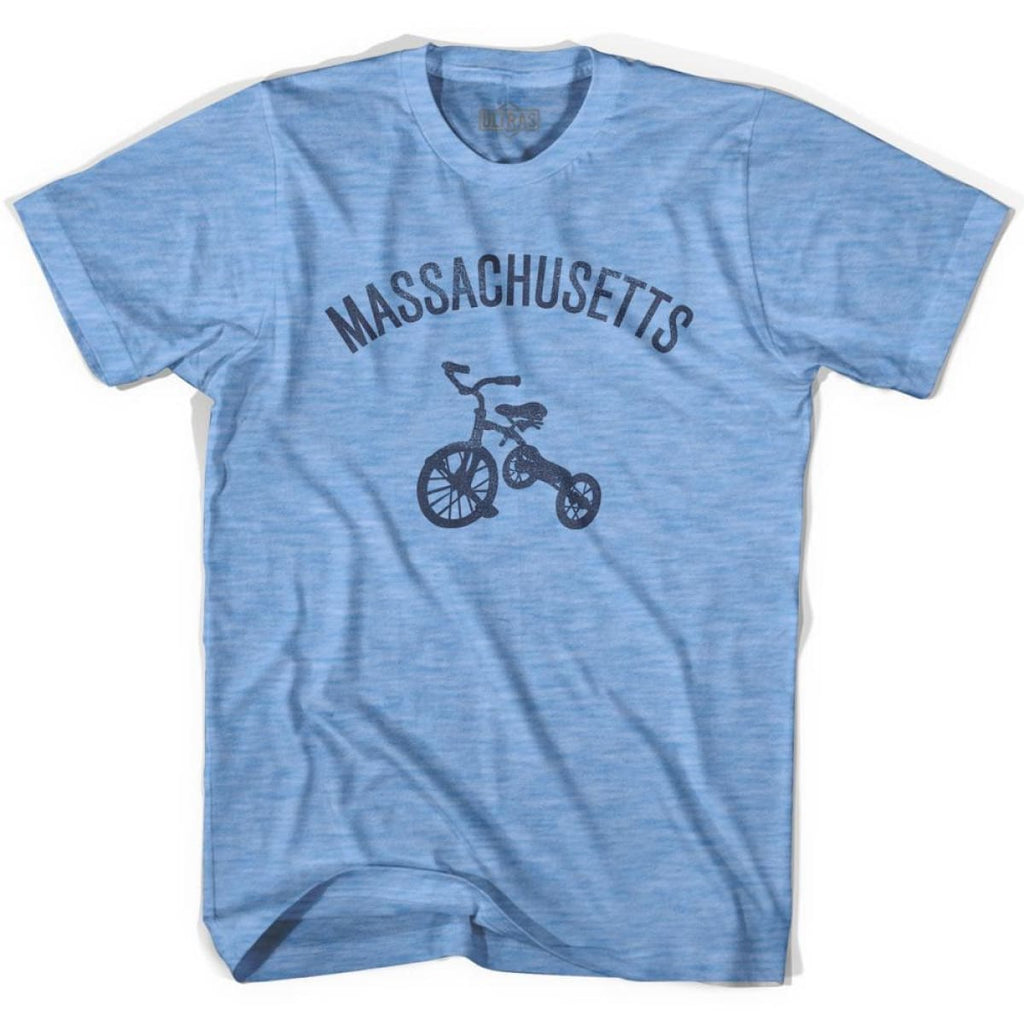 Massachusetts State Tricycle Adult Tri-Blend T-shirt - Athletic Blue / Adult Small - Tricycle State