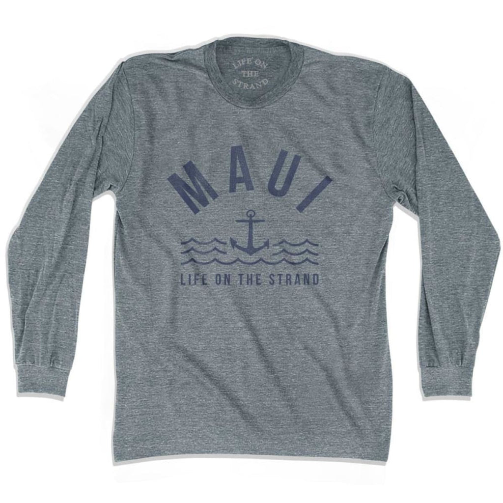 Maui Anchor Life on the Strand Long Sleeve T-shirt - Athletic Grey / Adult X-Small - Life on the Strand Anchor