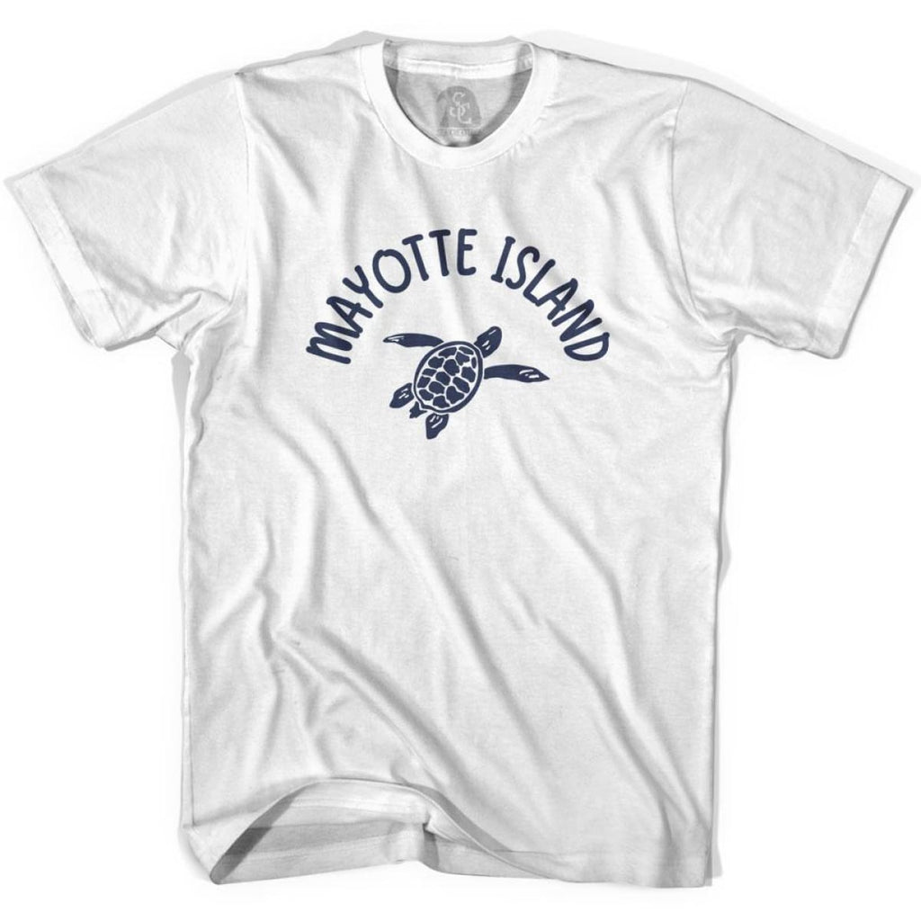 Mayotte Island Beach Sea Turtle Adult Cotton T-shirt - White / Adult Small - Turtle T-shirts