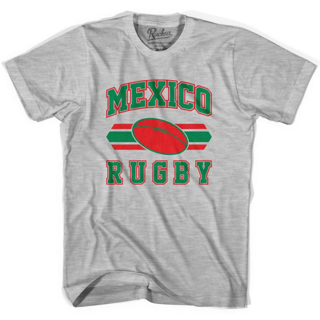 Mexico 90s Rugby Ball T-shirt - Grey Heather / Youth X-Small - Rugby Sevens