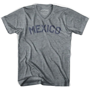 Mexico City Vintage V-neck T-shirt - Athletic Grey / Adult X-Small - Mile End City