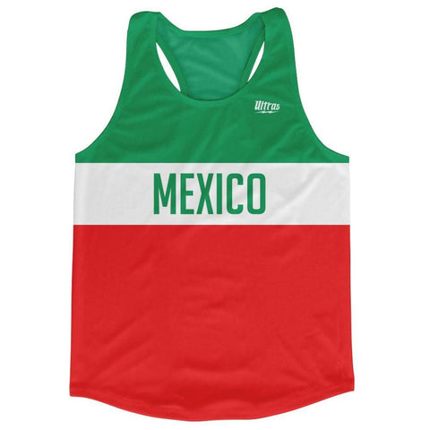Mexico Country Finish Line Running Tank Top Racerback Track and Cross Country Singlet Jersey - Green White Red / Adult X-Small - Running Top