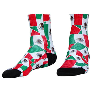 Mexico Flag Party Half Crew Athletic Socks - Red Green White / Adult Medium - Socks