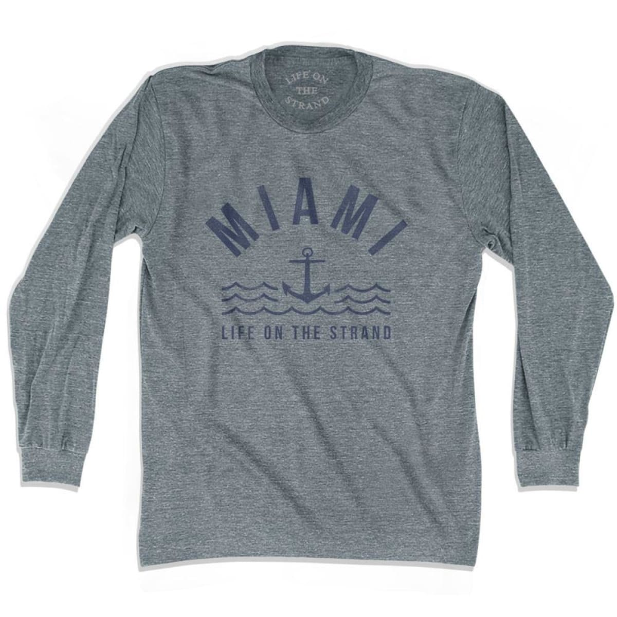 Miami Anchor Life on the Strand Long Sleeve T-shirt - Athletic Grey / Adult X-Small - Life on the Strand Anchor