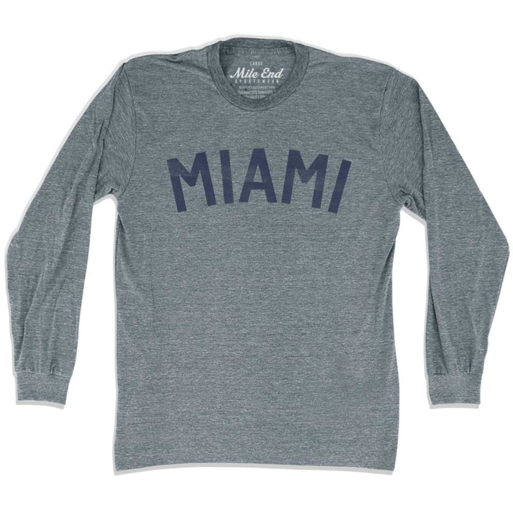 Miami City Vintage Long Sleeve T-Shirt - Athletic Grey / Adult X-Small - Mile End City