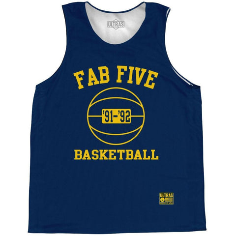 Michigan Fab Five Basketball Practice Singlet Jersey - Navy / Youth X-Small / No - Basketball Pinnie