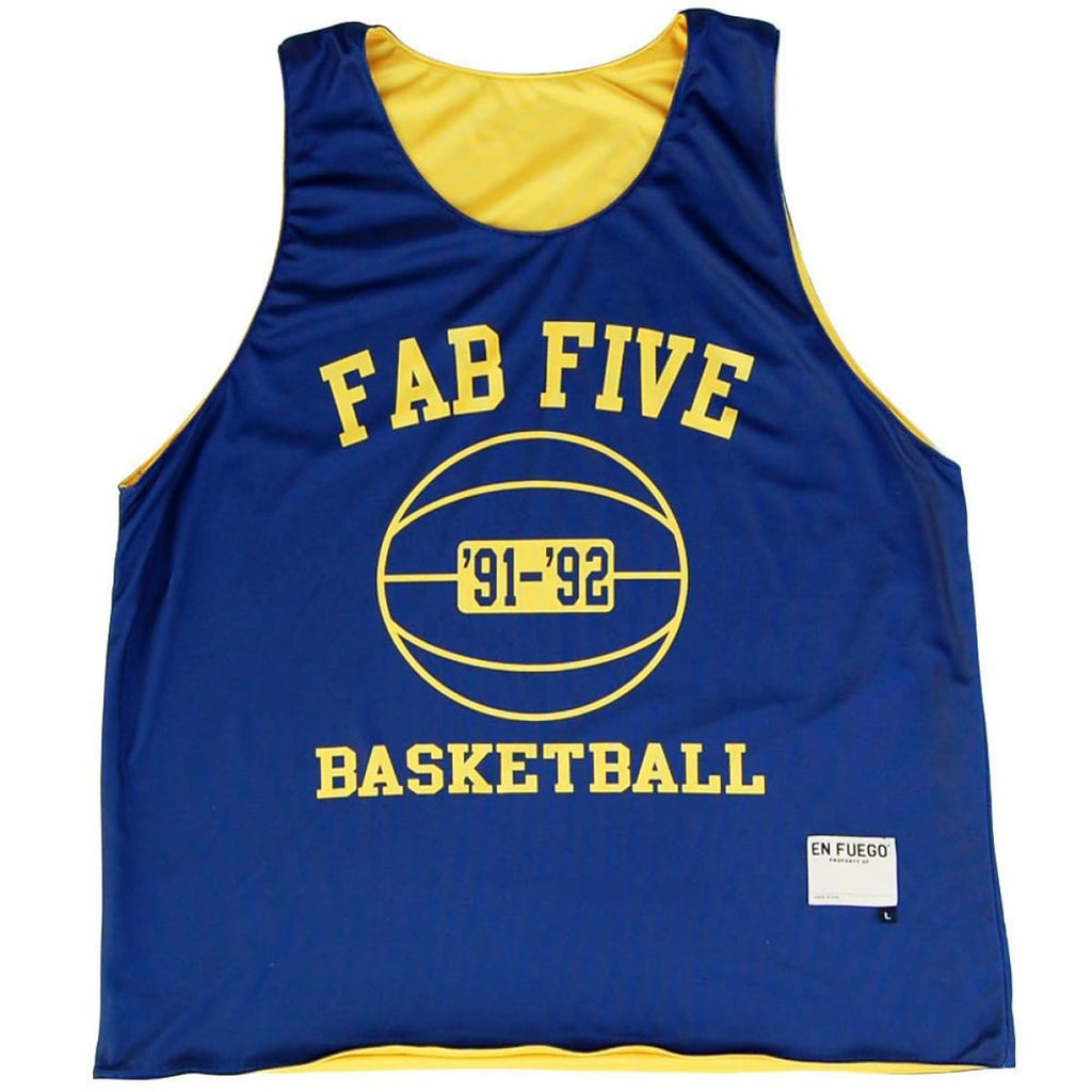 Michigan Fab Five Basketball Reversible - Navy and Yellow / Youth X-Small / No - Basketball Pinnie