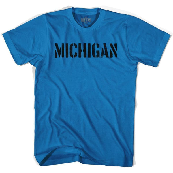 Michigan State Stencil Adult Cotton T-shirt - Royal / Adult Small - Stencil State