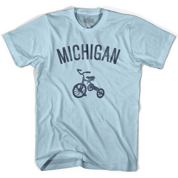 Michigan State Tricycle Adult Cotton T-shirt - Light Blue / Adult Small - Tricycle State