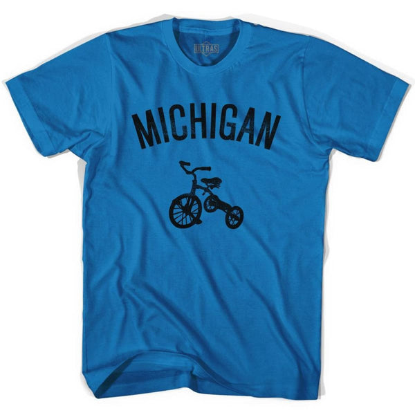 Michigan State Tricycle Adult Cotton T-shirt - Royal / Adult Small - Tricycle State