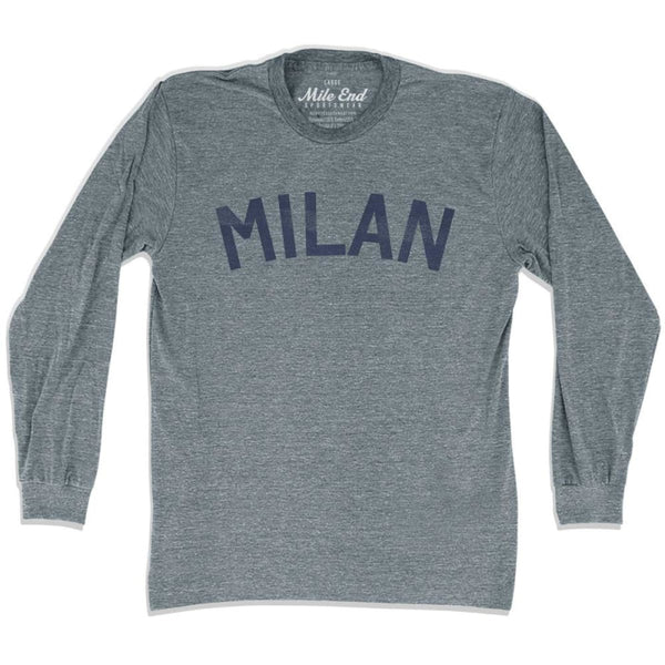 Milan City Vintage Long Sleeve T-Shirt - Athletic Grey / Adult X-Small - Mile End City