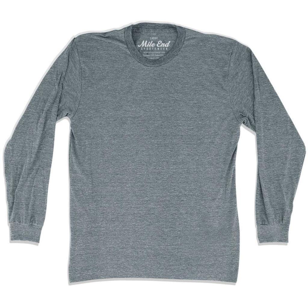 Mile End Athletic Grey Blank Long Sleeve T-shirt - Athletic Grey / Adult X-Small - Mile End City