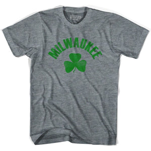 Milwaukee City Shamrock Tri-Blend T-shirt - Athletic Grey / Adult X-Small - Shamrock Collection