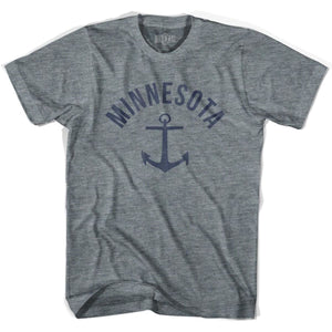 Minnesota State Anchor Home Tri-Blend Adult T-shirt - Athletic Grey / Adult X-Small - Anchor Home
