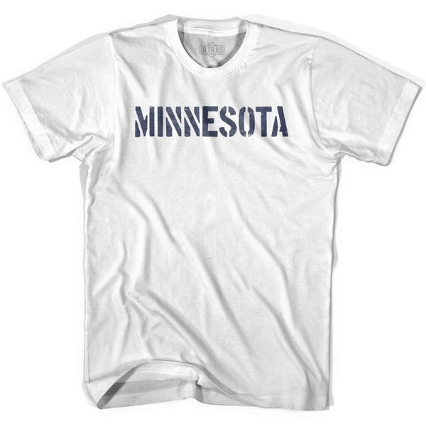 Minnesota State Stencil Youth Cotton T-shirt - White / Youth X-Small - Stencil State